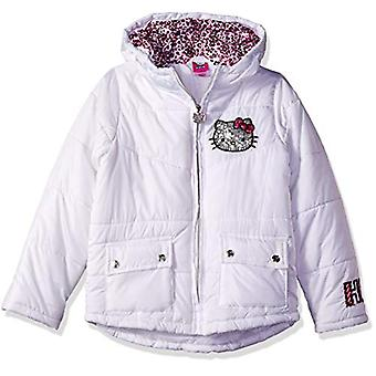 Hello Kitty Big Girls Puffer Jacket with Hood, White 12