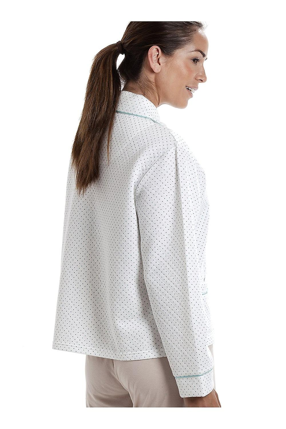 Camille Womens White Bed Jacket With A Blue Dot Print