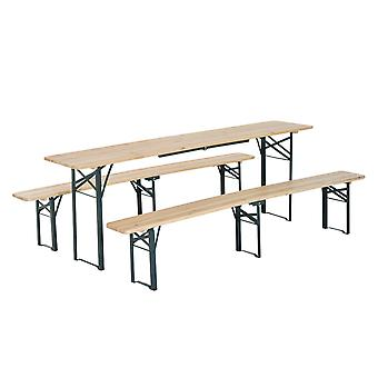 Outsunny Folding Heavy Duty 3pc Wooden Picnic Table Bench Set Portable Camping Garden BBQ Party Outdoor