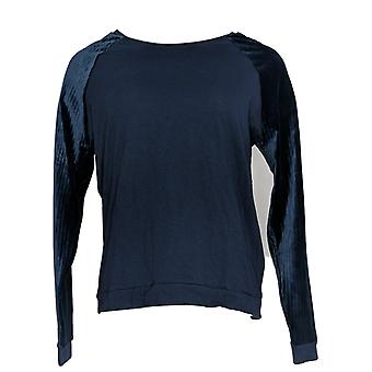 Anybody Women's Top Ribbed Velour Cozy Knit Pullover Blue A372141