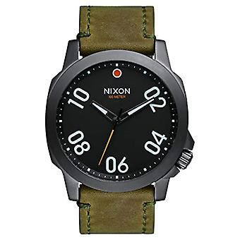 Nixon Mens analog quartz watch with leather band A466-2072-00
