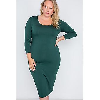 Plus size basic bodycon midi jurk