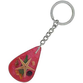 Olivia Collection Nautical Underwater Life Key Ring med EKTE sjøstjerner på rosa bakgrunn