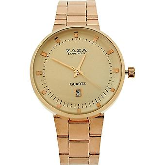 Zaza London Gents Date Rose Goldtone Dial & Metal Strap Dress Watch MMB640/06