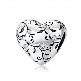 Sterling Silver Charm Heart With Retro Pattern - 6337