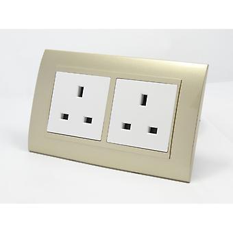 Eu LumoS como luxo ouro arco plástico plugue de parede dupla desligadas 13A UK soquetes
