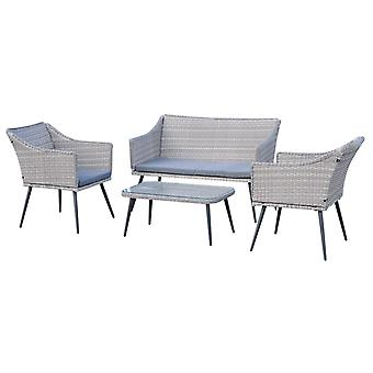 Outsunny 4 Pcs Elegant PE Rattan Dining Set w/ 2 Chairs 1 Sofa 1 Table Glass Top Seat Cushions Top Steel Frame Wicker Wrapping Glass Top Steel Legs Outdoor Mixed Grey