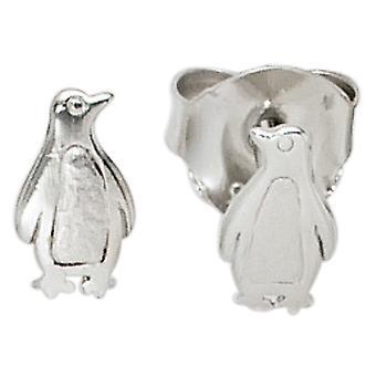 Kids studs penguin 925 sterling silver matted earrings kids earrings