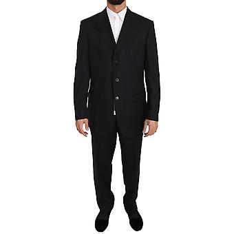 Black two piece 3 button wool suit a43