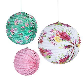 Alice in Wonderland Style Floral Paper Hanging Lanterns x 3 Decoration