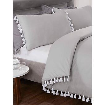Quaste Bettbezug und Kissenbezug Bett Set - Super King, Silber