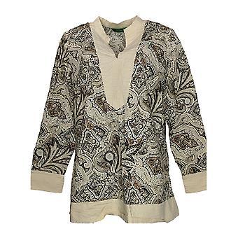 C. Wonder Women's Top Paisley Print Long Sleeve Tunic Beige A275110