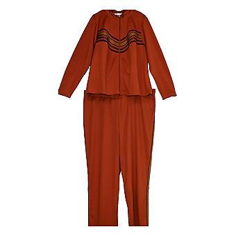K Jordan Women's Plus Long Slvs Jacket & Pants Striped 2 Piece Set Brown
