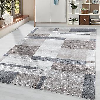 Rug Modern Designer Plaid Pattern Living Room Soft Flor Beige Grey Cream