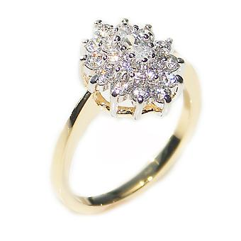 Ah! Jewellery Gold And Rhodium Electroplated Prong Set Cluster Ring