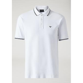 Emporio Armani Cotton Stripped Collar White Polocotton Stripped Collar White Polo
