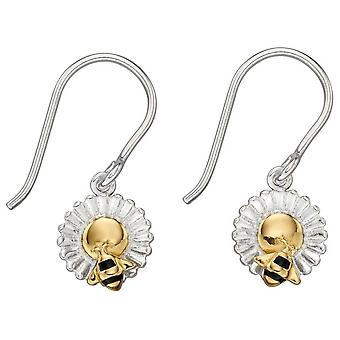 Elements Silver Bee and Flower Earrings - Silver/Gold