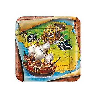 8 Premium Buried Treasure Party Square Paper Plates for Kids Pirate Parties