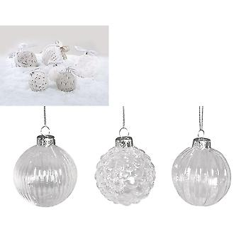 3 Patterned 60mm Clear Glass Christmas Baubles for Crafts for Tree Decoration