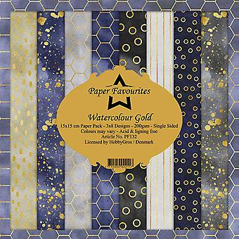 Paper Favourites Watercolour Gold 6x6 Inch Paper Pack
