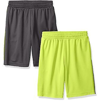 Essentials Big Boys' 2-Pack Mesh Short, Grey/Lime, Medium