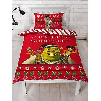 Shrek Merry Single Duvet Cover y Pillowcase Set