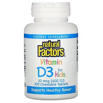 Natural Factors, Vitamin D3, Strawberry Flavor, 400 IU, 100 Chewable Tablets