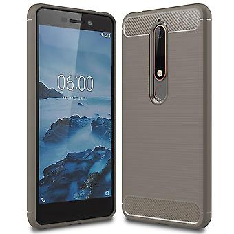 Single-Colored Carbon Fiber Shell pour Nokia 6.1 (2018) Mobile Shell Silicone Shockproof Armor