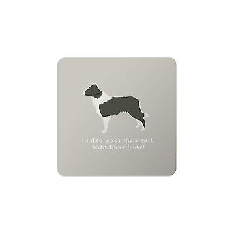 Bailey and Friends Dog Coaster Border Collie Grey
