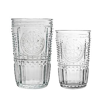 Bormioli Rocco Romantiska vattentumlare och Highball Cocktail glasögon - 305ml, 475ml - 12pc Set