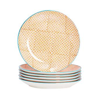 Nicola Spring 6 Piece Hand-Printed Dinner Plate Set - Japanese Style Porcelain Dining Plates - Orange - 25.5cm