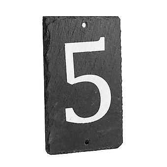 Natural Solid Slate House Numbers (0-9) Including Fixings & Caps - Number 5