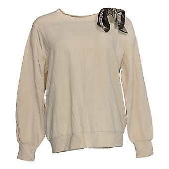 Iedereen Women's Top Terry Pullover W/ Neck Bow Beige A372165