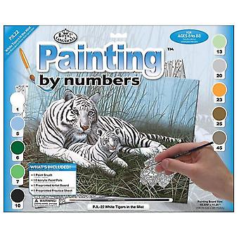 Paint by Number Set Junior Large - White Tigers in the Mist