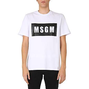 Msgm 2940mm6720759801 Mænd's White Cotton T-shirt