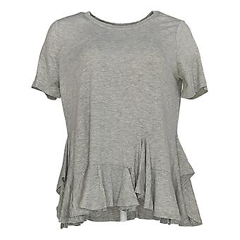 DG2 by Diane Gilman Women's Top Gray Tunic Polyester Short Sleeve 677-991