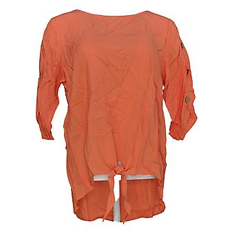 Motto Women's Top Orange Tunic Rayon 3/4 Sleeve Button Detail 648-630
