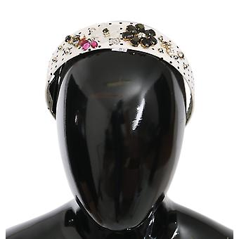 Black white polka dot crystal floral diadem headband