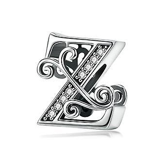 Sterling hopea kirjain aakkoset A-z charmi nimi bead alkuperäinen rannekoru riipus riipus