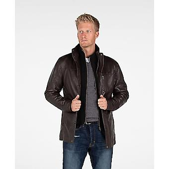 Herren Fancy Lambskin 4 Button Ledermantel