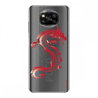 Casco para Xiaomi Poco x3 Nfc en silicona suave 1 mm, dragón rojo