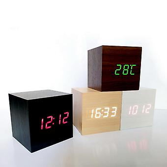 New Multicolor Led Wooden Alarm Clock Watch Table Voice Control Digital Wood