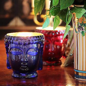 Caesonia | Sapphire Blue Caesonia Glass Buddha Lined With 24k Gold