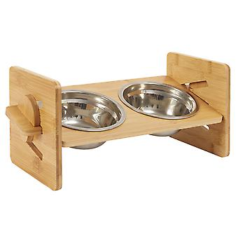 Bamboo Elevated Dog Cat Food And Water Bowls Stand Pet Feeder Adjustable Slots