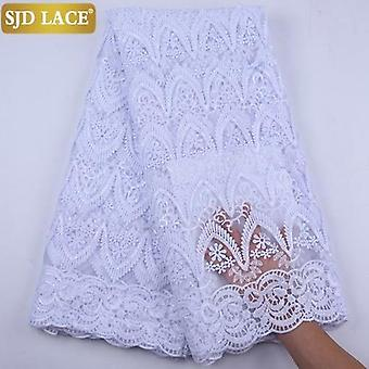 3d Applique Milk Silk African Mesh Lace Fabric High Quality Sequins