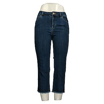 LOGO by Lori Goldstein Women's Petite Jeans Straight Leg Crop Blue A345376