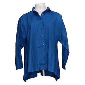 Attitudes par Renee Women's Top Button Front Wrinkle Resistant Blue A367740