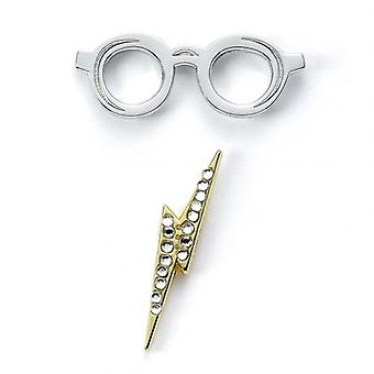 Harry Potter Badge Lightning Bolt & Glasses