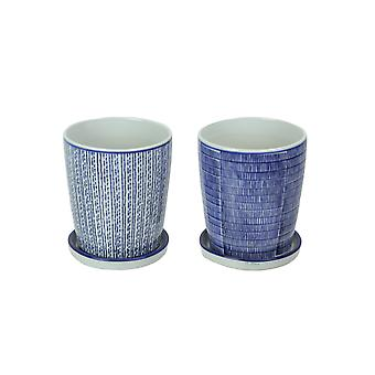 Set of 2 Striped Blue and White Planter Pots With Saucers 6 Inches High