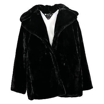 Avec Les Filles Women's Coat Plus Faux Fur Notched Collar Black 707-484